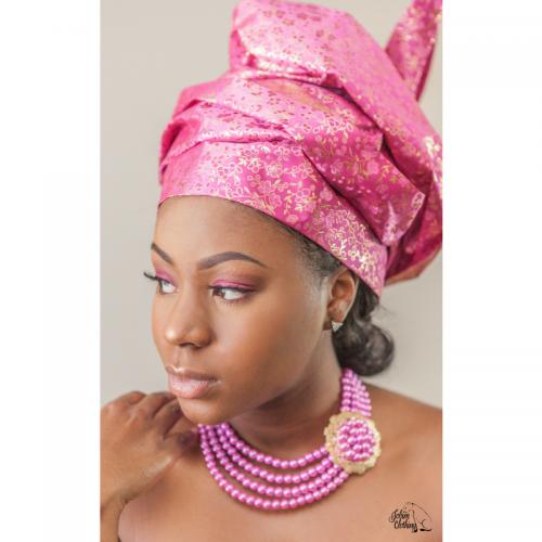 Gele - Metallic Flower - Pink - Jobim Clothing