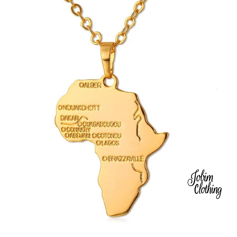 Gold African Map Necklace 20