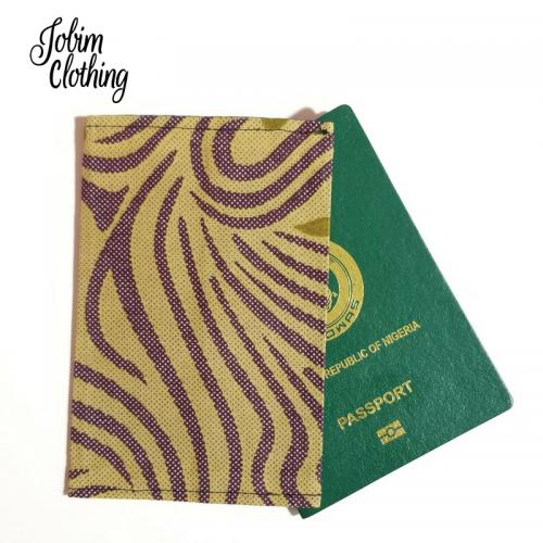 Jobim Clothing Passport Cover - Tan Purple Gold
