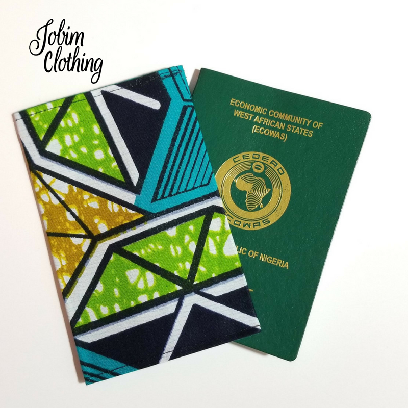 Jobim Clothing Passport Cover - Blue Green Tan White