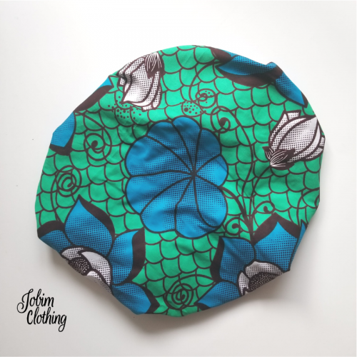 Ashura Hair Bonnet - Teal, Blue, White - Jobim Clothing
